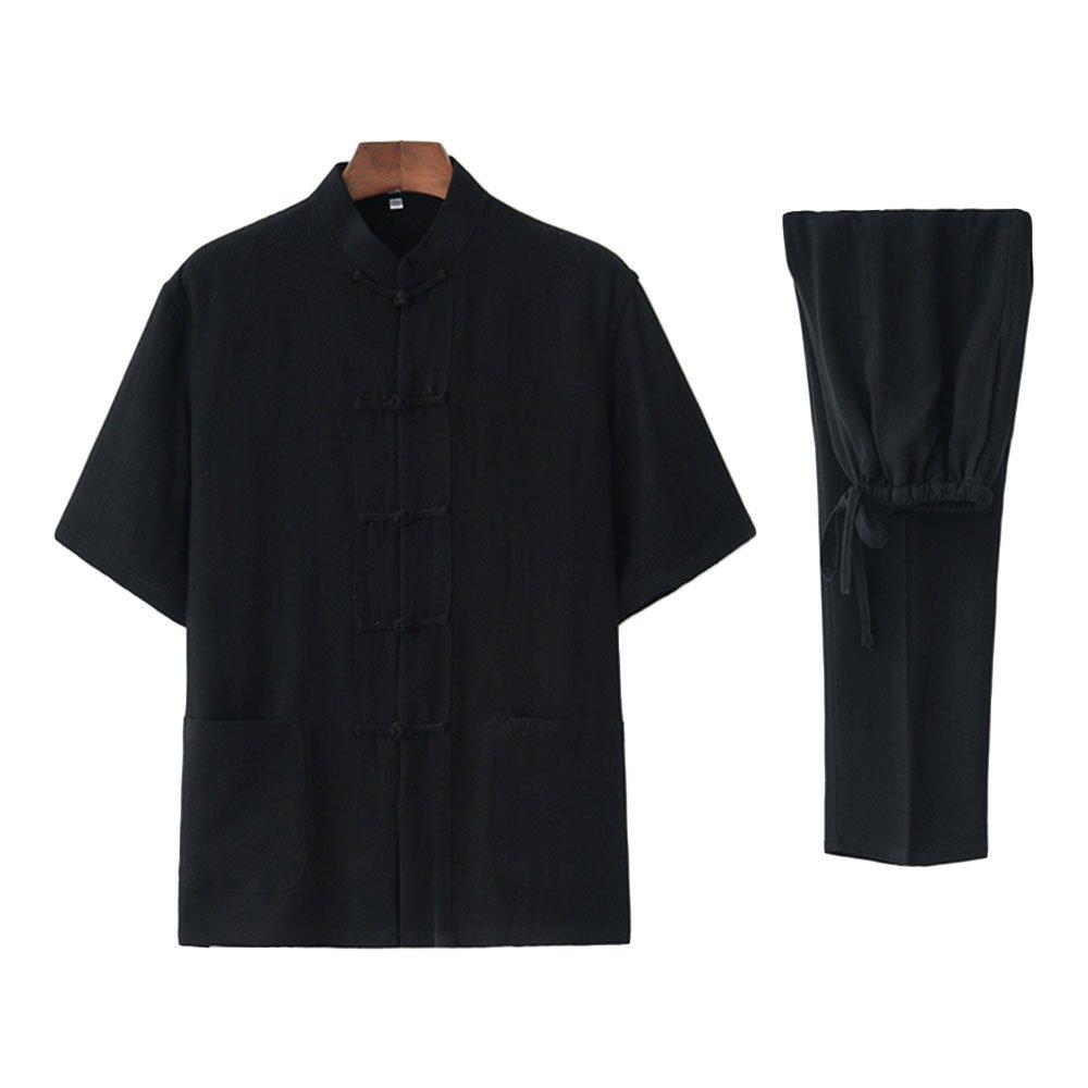 Zooboo Tai Chi Uniform Clothing - Chinese Qi Gong Martial Arts Wing Chun Shaolin Kung Fu Taekwondo Training Cloths Apparel Clothing Pants- Cotton and Hemp (M, Black)