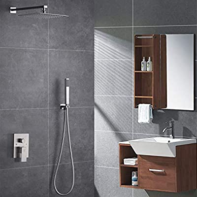Luxury Rain Shower System Complete Bathroom Shower Faucets sets Wall-Mounted Rainfall Shower Head and Hanhheld