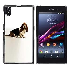 PC/Aluminum Funda Carcasa protectora para Sony Xperia Z1 L39 C6902 C6903 C6906 C6916 C6943 Basset Hound White Dog Canine Pet / JUSTGO PHONE PROTECTOR
