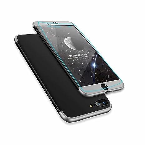 MISSDU reemplazo para Funda iPhone 7 Plus/iPhone 8 Plus 5.5 Thin Fit 360 Carcasa Exact Slim de protección Completa y Protector de Pantalla de Vidrio ...