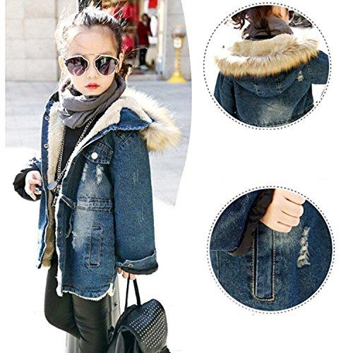 Kids Little Fall Girl Winter Hooded Fur Collar Thick Denim Coat Jacket Outerwear (9-10Years, Blue) by TJTJXRXR (Image #3)
