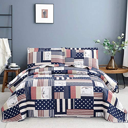 Blue White Plaid Quilt Set Full/Queen Size Striped Star Patchwork Bedspread Coverlet Flag Bedding Lightweight Reversible All Season Bed Coverlet for Kids Adults,1 Quilt 2 Pillow Shams