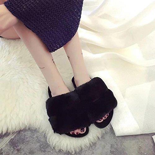 House Slippers, Tenworld Women Faux Fur Softy Slip On Slider Sandals Black