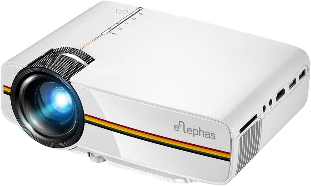 ELEPHAS LED Mini proyector de vídeo, con 1200 Luminoso eficiencia ...
