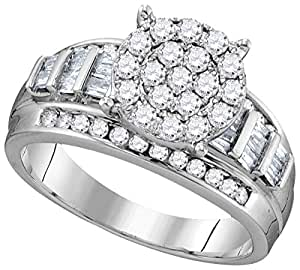 10kt White Gold Womens Round Diamond Cluster Bridal Wedding Engagement Ring 1/2 Cttw = 0.52 = Cttw (I2-I3 clarity; I-J color)