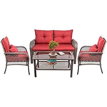 co z 4 pcs all weather outdoor chairs with cushions pe rattan patio furniture set - Rattan Garden Furniture L Shape