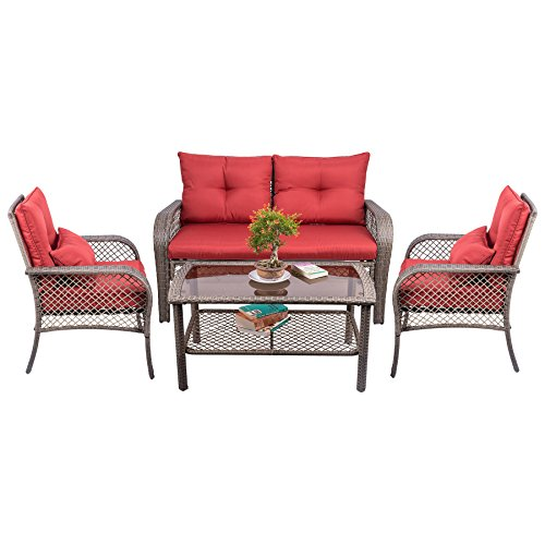 CO-Z Outdoor Patio Furniture Chairs Backyard, Pool, Deck (4 PCS All Weather Patio Furniture Set)