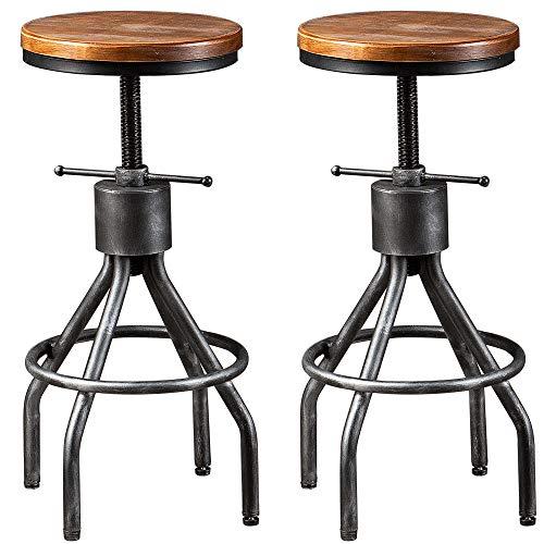 "BOKKOLIK Set of 2 Industrial Bar Stool-Vintage Counter Dining Chair-Swivel Stools-Tall Height Adjustable 22-30"""