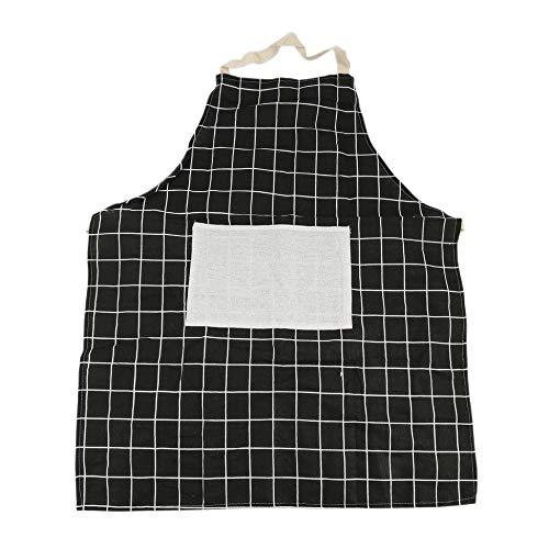 Newgreen Küchenschürze mit Tasche, weicher Baumwollleinen, Unisex Kochschürze Schwarz
