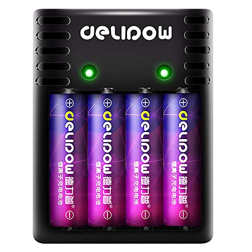 DHE 4Pcs 1.5v 3200mWh AA Rechargeable Lithium Batteries With 4 Slots Ports AA AAA Battery 2 Hours Quick Charger , Micro-USB Port , Output at 1.5V