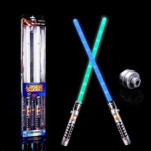 FUN LITTLE TOYS LED Light Saber Laser Sword FX Lightsaber Fighters Galaxy Warriors, 2 in 1 Light Sound Effect ()