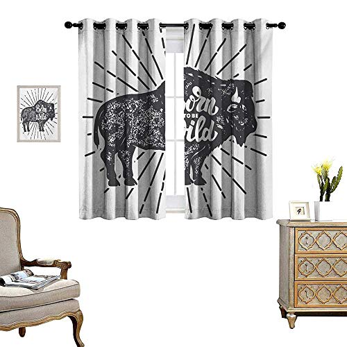 - Wild and Free Waterproof Window Curtain Ethnic Bison with Grunge Effect Born to be Wild Quote Native America Blackout Draperies for Bedroom W63 x L72 Charcoal Grey White