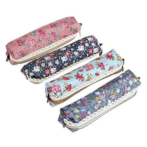 Cute Pencil Case,UZZO Set of 4 Different Color Flower Floral Canvas Pen Bag Pencil Case, Multiple Purpose Soft Pencil Case Bag For School Office, - Great Graduation Gift!