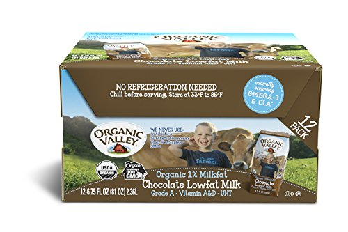 Organic Valley, Organic Milk Boxes, Organic 1% Lowfat Chocolate Milk, 6.75 Ounces (Pack of 12)