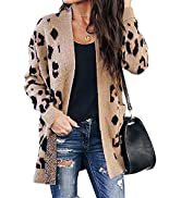 BTFBM Women Chic Leopard Print Cozy Sweaters Button Down Open Front Loose Knitted Long Sleeve Car...