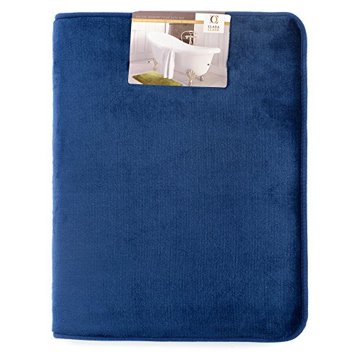"Clara Clark Bath Mat Bathroom Rug - Absorbent Memory Foam Bath Rugs - Non-Slip, Thick, Cozy Velvet Feel Microfiber Bathrug, Plush Shower, Toilet Floor Bathmats Carpet - Royal blue - Large Size 20""x32"""