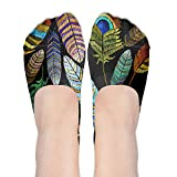 Womens Peacock Feathers All Over Soft No Show Low Cut Socks Non Slip Flat Boat Line