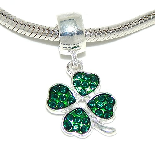 Shamrock Leaf Clover Charm - Pro Jewelry Four Leaf Clover w/ Green Crystals Bead Compatible with European Snake Chain Bracelets