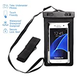 "Universal Waterproof Case - GreenElec Clear CellPhone Dry Bag Pouch for iPhone 7 7 Plus 6,6S Plus, 5S, Galaxy S7, S6 Note 5, HTC LG Sony Nokia Motorola ZTE up to 5.5"" diagonal (Black)"