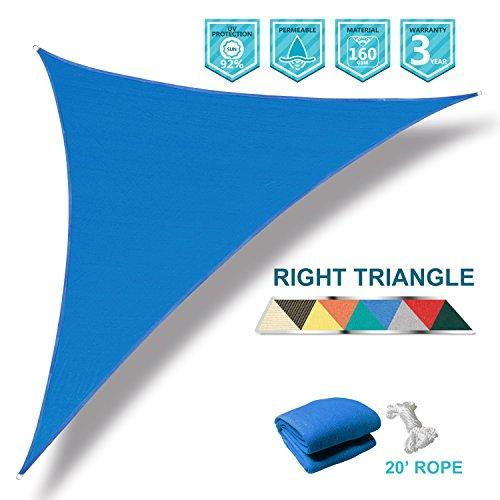 Coarbor 8x8x11.3 Right Triangle Blue UV Block Sun Shade Canopy Perfect for Patio Yard Deck Outdoor Garden