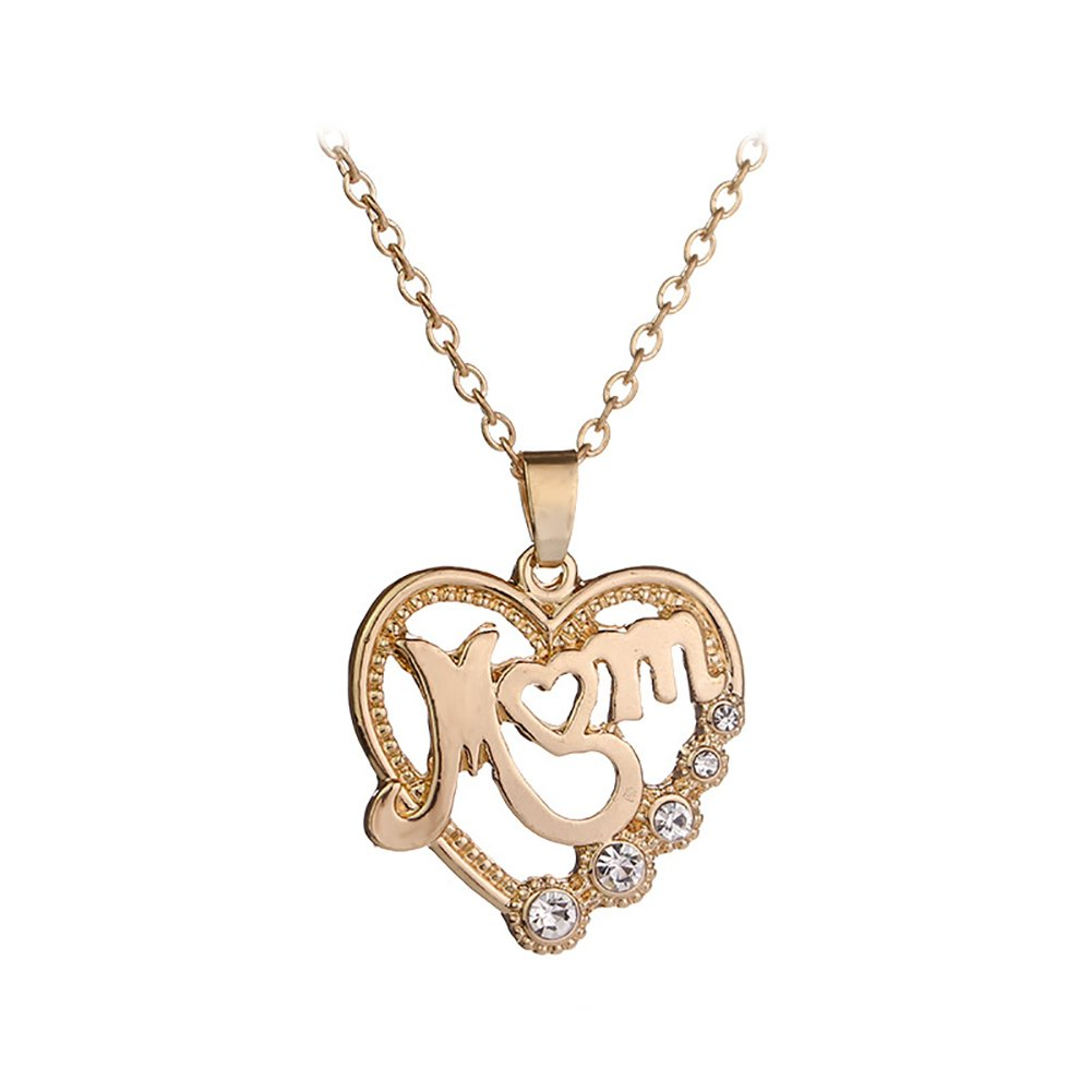 angel3292 Lovely Rhinestone Heart Pendant Mom Necklace Party Jewelry