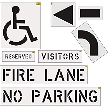 Image of Signs Ultimate Stencil Kit for Parking Lot Striping Made of 1/16' LDPE - 1000's of Uses (Fire Lane, No Parking, Handicap, Visitors, Reserved, Arrow Kit)