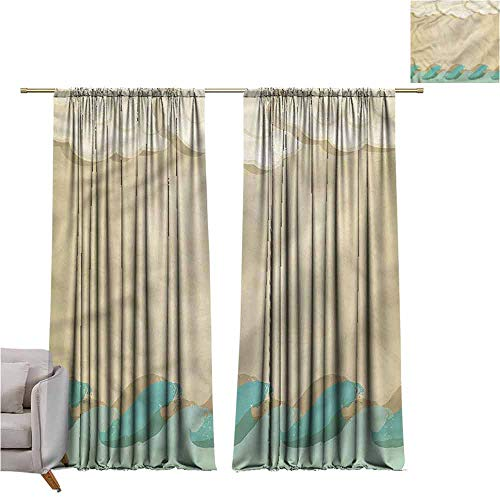 Clouds Finials Matte Black - zojihouse Ocean Waves and Clouds Kids Room Blackout Thermal Insulated Curtains, 62