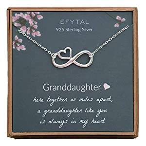 EFYTAL 925 Sterling Silver Infinity with Heart Necklace