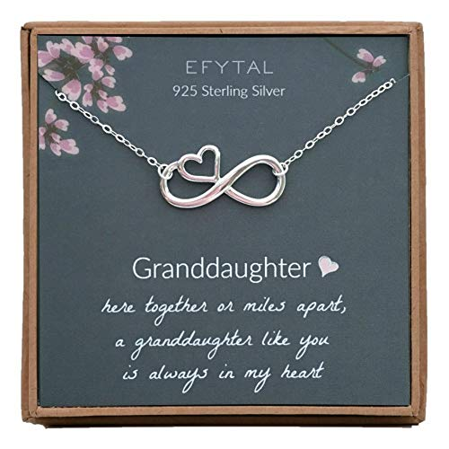 EFYTAL Gift for Granddaughter, 925 Sterling Silver Infinity with Heart Necklace from Grandmother, Gifts for Girls, Best Birthday Gift Ideas, Pendant Jewelry Necklaces, Graduation ()