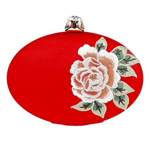 Evening Damara Peony Bag Womens Red Chinese Embroidery WqqRprv0