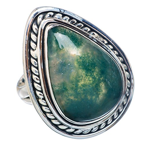 Large Green Moss Agate Ring Size 7 (925 Sterling Silver) - Handmade Boho Vintage Jewelry RING907422 ()