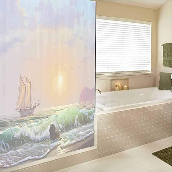 EMODFJCXZ Lakehouse Decor Collection 3D Decorative Window Vinyl Sailboat Against of Sea and Forceful Waves Hitting to Rocky Shore Oil Painting Embrace Nature 12.2 x 78.7 Inch Teal Beige Blue