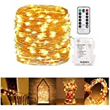 Gluckluz String Lights Indoor 10m Fairy Lighting Battery Operated Waterproof Copper Wire Decoration Lamp with Remote Control for Home Bedroom Festival Wedding Garden Party Holiday (Warm White,100 LED)