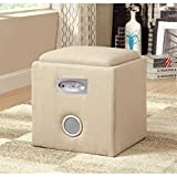 Furniture of America Uptempo Padded Flax Storage Ottoman with Bluetooth Speakers, Ivory For Sale