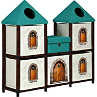 OneSpace 50-JPCA1101 1 Recycled Paper Fantasy Fort Kids Storage Unit, Green and Brown