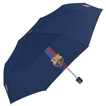 PERLETTI - Paraguas blaugrana Hombre con Fantasia F.C. Barcelona - Plegable y antiviento - Manual