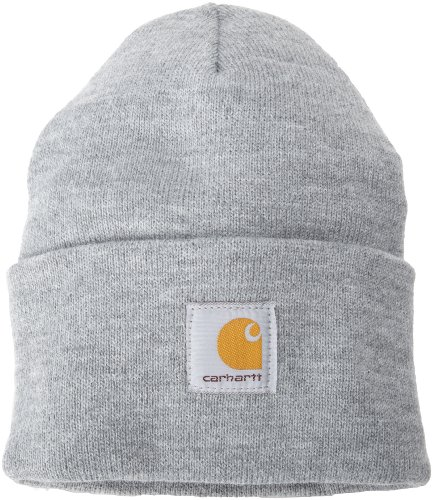 Mens Winter Hat - Carhartt Men's Acrylic Watch Hat A18, Heather Grey, One Size
