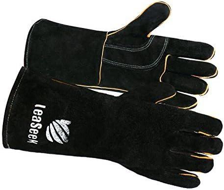 LeaSeek - Guantes de cuero resistentes para barbacoas (parrillas), soldadura y chimeneas. Resistentes al calor e ignífugos. Color negro, 35,6 cm
