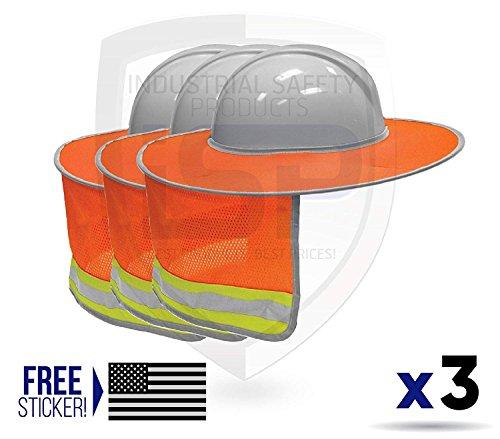 ML Kishigo 2874-6 Full Brim Sun Shield Color Orange (3 Pack) by ML Kishigo