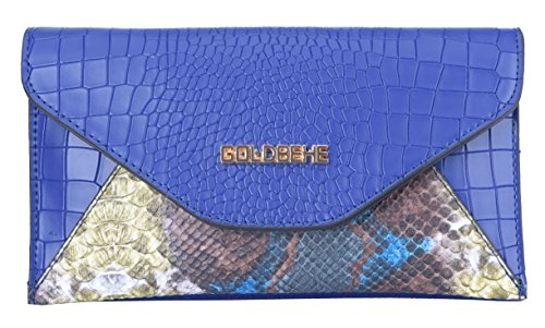 GOLDBEHE Womens Chic Multicolor Snakeskin Print Envelope Flap Hit color Fashion Clutch Handbag (Blue) ()