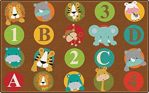 (Flagship Carpets FE266-32A ABC and 123 Animals (Dark) (Seats 20), Multi)