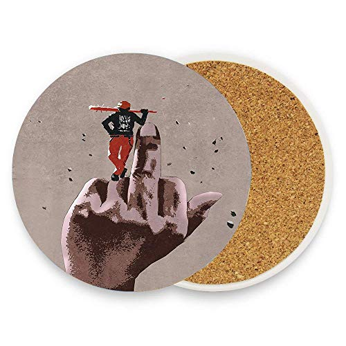 MichelleSmithred Middle Finger Hand Sign and a Guy with Baseball Bat Danger Poster Print Ceramic Coaster Absorbent Stone Coaster for Coffee Mug Glass Cup Mat 1 Piece