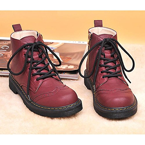 tobillo 40 cremallera Martin talón zapatos plano RED cordones caliente Las piel 37 corto Side de Casual mujeres botas TgnnOFqw4