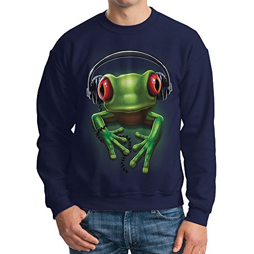 - HAASE UNLIMITED 3D Frog Wearing Headset - Hearphone Crewneck Sweatshirt (3XL, NAVY BLUE)