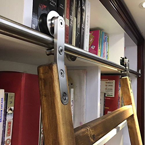 Steel Fixed Ladder - DIYHD 10FT Stainless Steel Sliding Library Ladder Hardware(No Ladder,no Floor Roller)