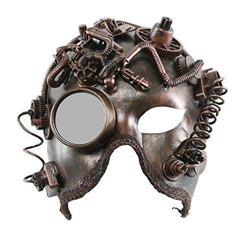 KAYSO INC The Alchemist Victorian Steampunk Bauta Full Face Masquerade Mask (Rustic Bronze) (Victorian Face Masks)