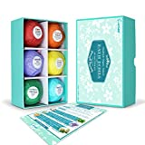 Enther Bath Bombs Gift Set, 6 Pack Large Size (3.18 oz/ea) Handmade Organic Essential Oil Bathbombs for Adults and Kids, Perfect for Bubble Bath, Pearl Aromatherapy Bath Bomb in Gift Box (Mixed)