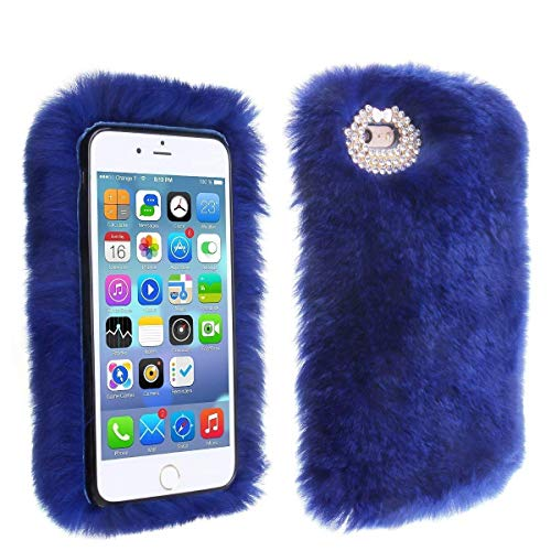 Price comparison product image Rabbit Furry Case, MeiLiio Fashion Fuzzy Furry Soft Warm Plush Rabbit Fur Cell Phone Case with Handmade Bling Crystal Rhinestone Back Protector Cover for 6.5 inch iPhone XS Max, Blue