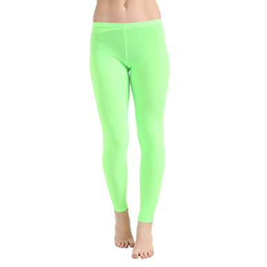 cc78ff938a051 Crazy Chick Women's Legging Microfiber Neon Green High Waist Sport Jogging  | Ladies Yoga Pants Fitness Gym & Workout | Plus Size High Waist Trousers |  St. ...