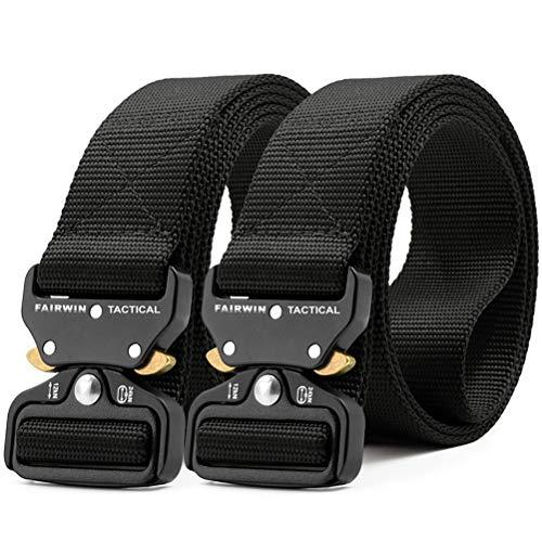 Fairwin Tactical Belt-1.5 Inch Web Nylon Tactical Belts for Men-Carry Tool Belt (Black, L-Waist(42